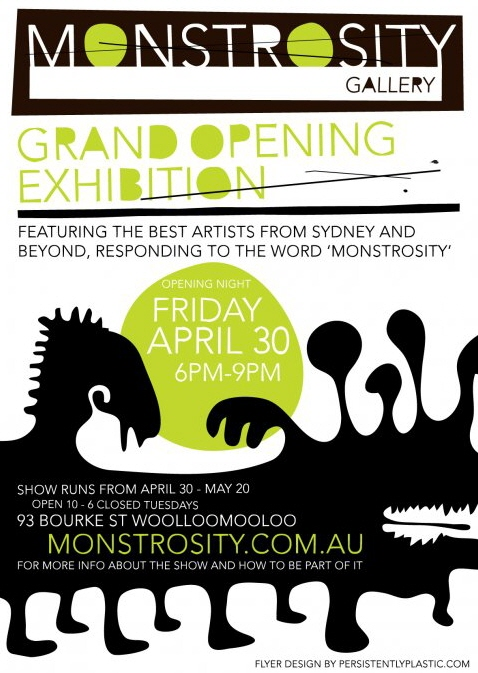 monstrosity grand opening exhibition flyer